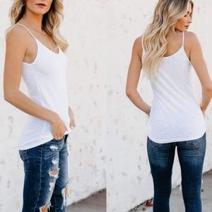 Tops - Womens white basic casual tank cami tops